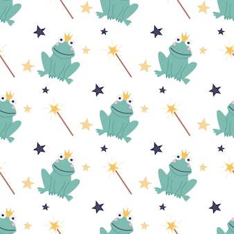 Seamless pattern of a funny frog with a magic wand and stars on a white background