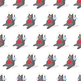 シームレスなパターン。面白い灰色の猫。真面目な猫。ぽっちゃりした猫は、その足にハートを持って面白く座っています。ベクトルイラスト