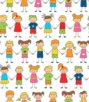 Seamless pattern of funny kids holding hands. friendship concept. happy cute doodle children.
