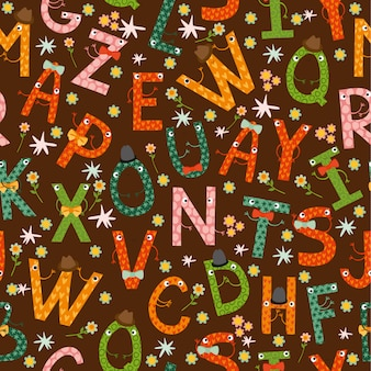 Seamless pattern, funny letters