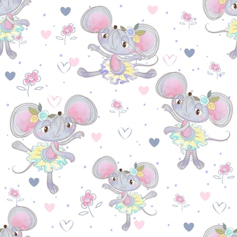 Seamless pattern. funny mouse ballerinas dancing in the meadow.