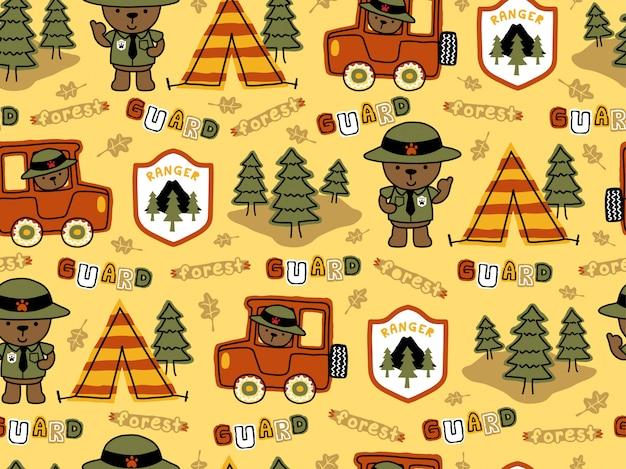 Seamless pattern of funny ranger cartoon