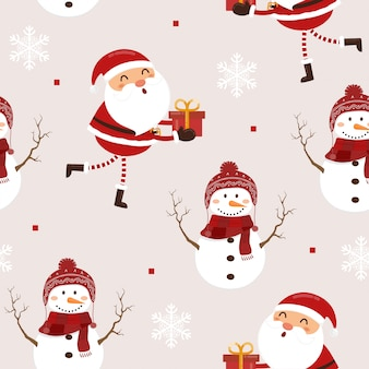 Seamless pattern funny santa claus and snowman