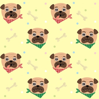 Seamless pattern funny twins pugs puppy.