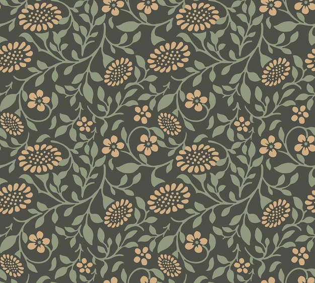 Seamless pattern of garden green spiral leaf sun flower.