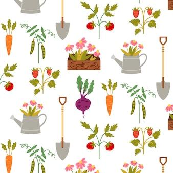 원활한 패턴 정원 도구 수확. 소박한 모티브로 반복적인 배경입니다. 벡터 손으로 그리는 종이, 보육 디자인 벽지