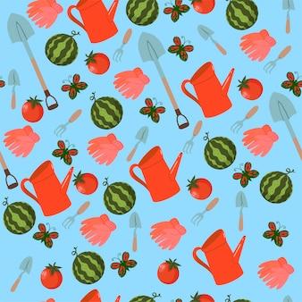 Seamless pattern of garden tools, vegetables, butterflies.