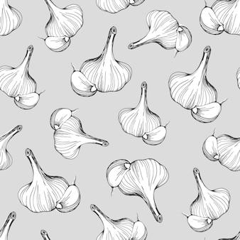 Seamless pattern of garlic on a grey background