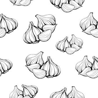 Seamless pattern of garlic isolated on white