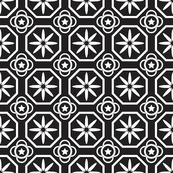 幾何学的なシームレスパターン。黒と白の背景。