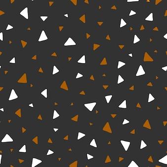 완벽 한 패턴입니다. 기하학적 패턴입니다. 삼각형. 추상적인 작은 모양이 무작위로 배열됩니다. 벡터 일러스트 레이 션