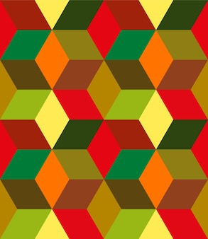 Seamless pattern of geometric shapes in warm colors background