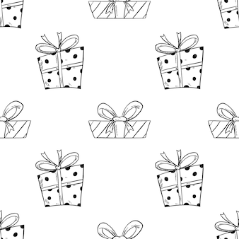 Seamless pattern of gift box for birthday with hand drawn style