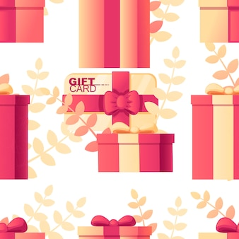 Seamless pattern of gift box with gift card abstract soft color pattern with leaves on background flat vector illustration on white background.