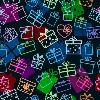 Seamless pattern of gift boxes, multicolored on black