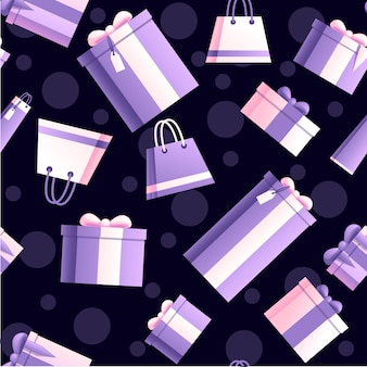 Seamless pattern of gift boxes and shopping bags with abstract soft color pattern flat vector illustration on dark background.
