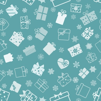 Seamless pattern of gift boxes, white on turquoise