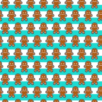 Seamless pattern of ginger bread smile face