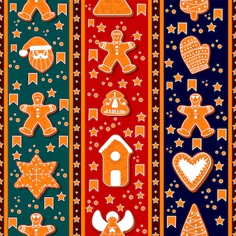 Seamless pattern of gingerbread characters.