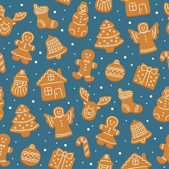 Seamless pattern of gingerbread cookies for christmas.