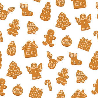 Seamless pattern of gingerbread cookies for christmas
