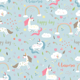 Seamless pattern girl with unicorn