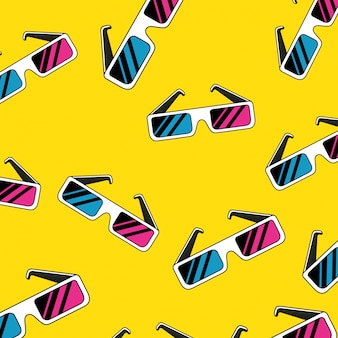 Seamless pattern of glasses accessory of nineties retro style