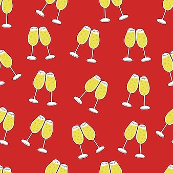 Seamless pattern of glasses of champagne on red background christmas new year and celebrating