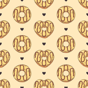Seamless pattern. glazed donuts decorated with toppings, chocolate, nuts.