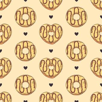 완벽 한 패턴입니다. 유약 도넛은 토핑, 초콜릿, 견과류로 장식되어 있습니다.