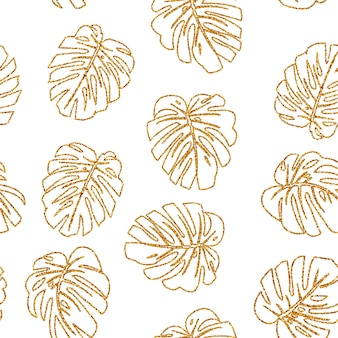 Seamless pattern. glitter texture gold tropical line leaf monstera on white .