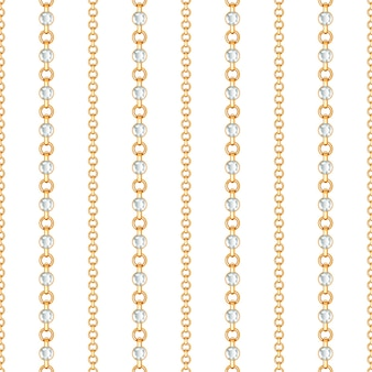 Seamless pattern of gold chain and crystals on a white background