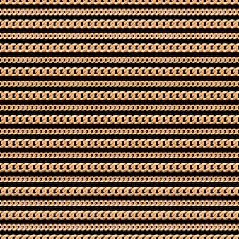 Seamless pattern of gold chain lines on black background