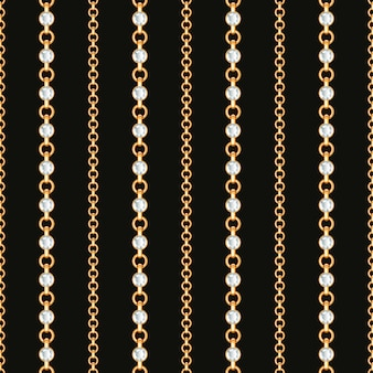 Seamless pattern of gold chain lines on black background.