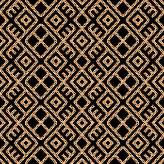 Seamless pattern of gold chain ornament on black background