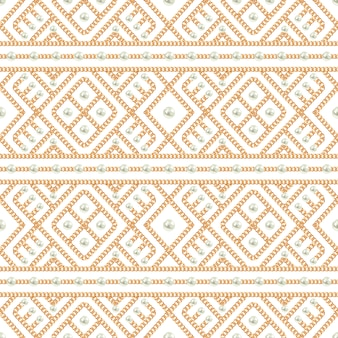 Seamless pattern of gold chain ornament and pearls on white background