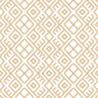 Seamless pattern of gold chain ornament on white background.
