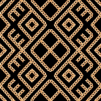 Seamless pattern of gold chain ornament