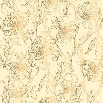 Seamless pattern.gold lilies on a vanilla background. vector.