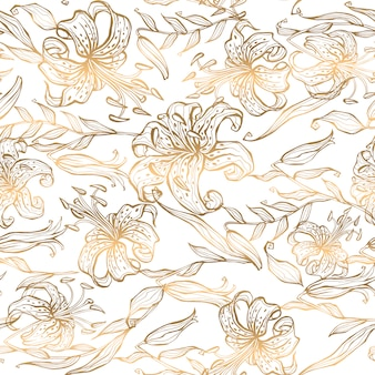 Seamless pattern gold lilies