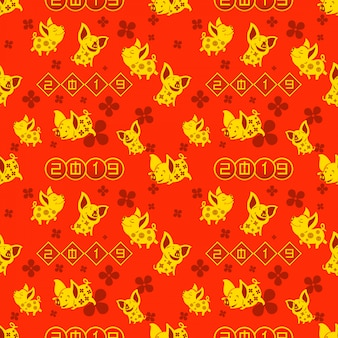 Seamless pattern of gold pig for celebrating 2019 chinese new year.