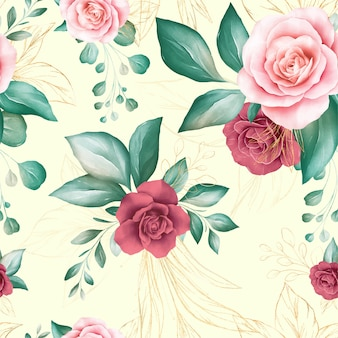 Seamless pattern of gold watercolor flowers arrangements with geometric glitter