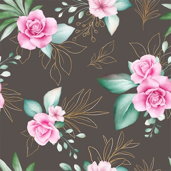 Seamless pattern of gold watercolor flowers arrangements