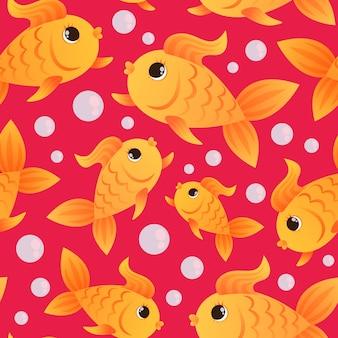 Золотая рыбка бесшовные модели и пузыри на