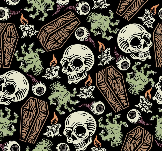 Seamless pattern of grave elements. horror elements on doodle.