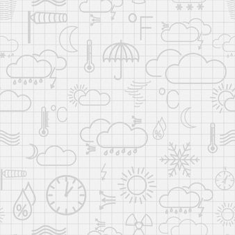 Seamless pattern of gray weather symbols on white checkered background Premium Vector
