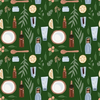 Seamless pattern on green backgraund. natural cosmetic ingridients and bottle, jars, tubes.