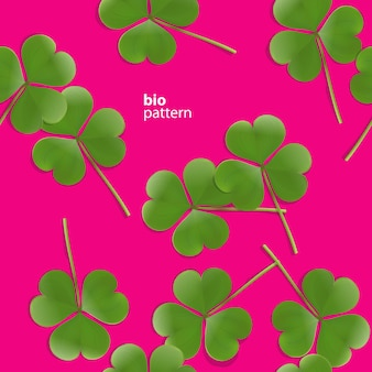 Seamless pattern, green clover leaf on pink background