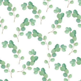 Seamless pattern of green eucalyptus leaves and branches