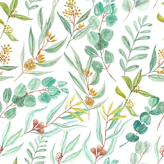 Seamless pattern of green eucalyptus leaves watercolor